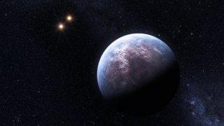 Exoplaneta v dvojhvězdém systému. Ilustrační kresba: NASA.